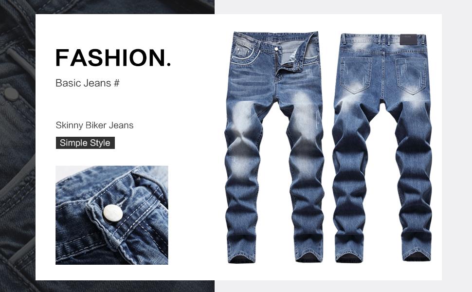 straight skinny jeans men designer ripped slim fit destroyed distressed biker moto fashion hip hop