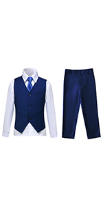 Boys Suit Kids Tuxedo Suits for Toddler Boy Ring Bearer Outfit Blue Formal Dresswear Vest Set