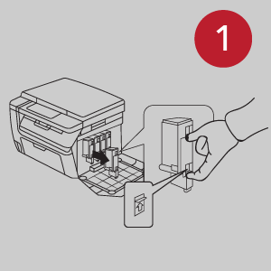 Image showing step 1 of the cartridge installation.