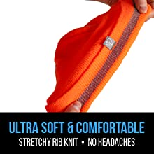 Ultra soft and comfortable, stretchy rib knit, no headaches