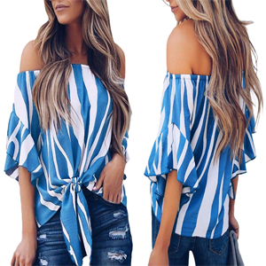 blue off the shoulder tops