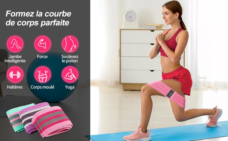 VGEBY1 Bandes /Élastiques de R/ésistance Sangles de Fitness Bande dexercice Gym /Étirement Pilates Bande dEntra/înement pour lexercice de La Fesse