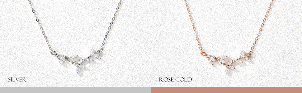 Silver and Rose Gold Bridal Necklace