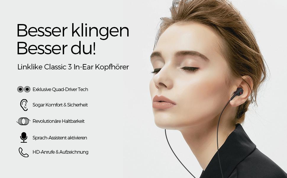 4D Stereo In Ear Kopfhörer mit Kabel