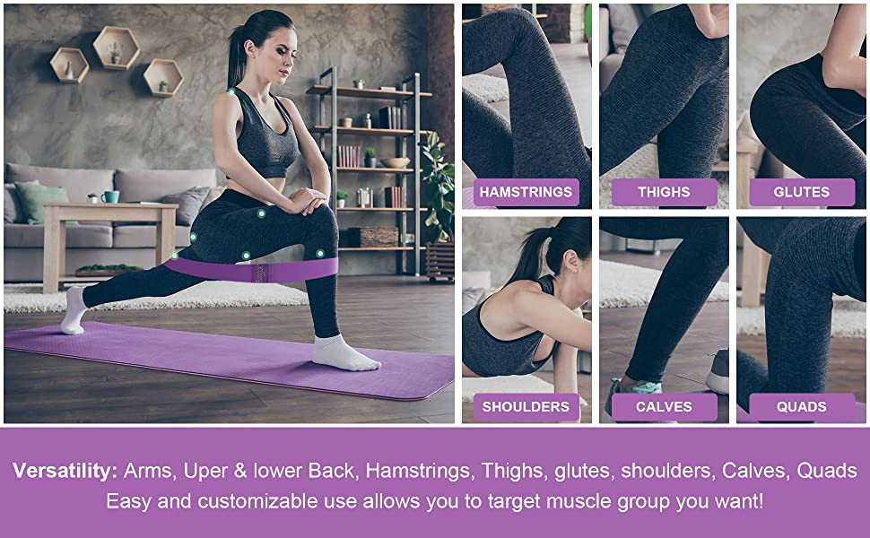 workout fitness Non-slip stretch Elastic Strength Squat thigh glute peach heavy resistant set gym
