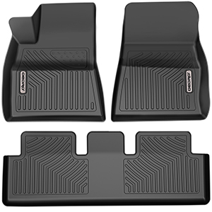 oEdRo Floor Mats Compatible for 2013-2017 Honda Accord Sedan 1st and 2nd Row Liners Set Black TPE All Weather Guard