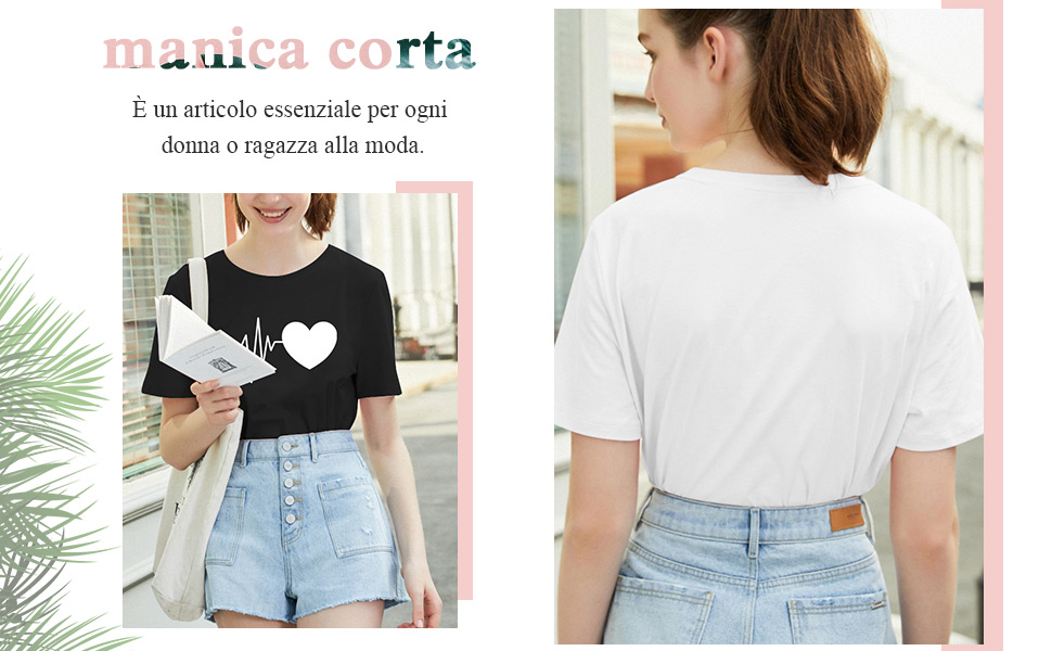 t-shirt donna maniche corte maglietta manica corta tee camicetta casual camicia ragazza