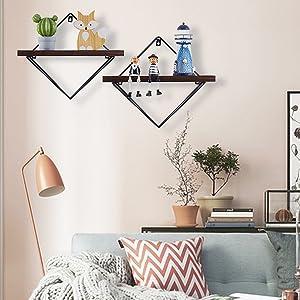 triangle shelves for wall,geometric shelves for wall,kitchen shelf decor, geometric floating shelves