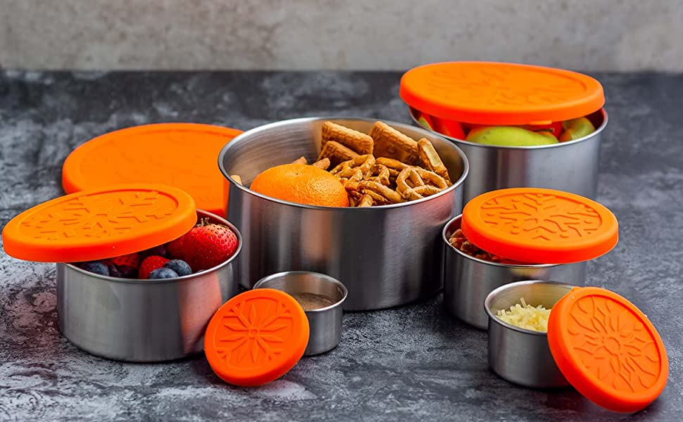 Stainless Steel Lunch Container Lunch Box 6 Pc Set with Silicone Lids