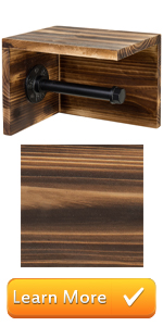 Wall Mounted Wood amp; Pipe Toilet Paper Holder amp; Shelf, Dark Brown