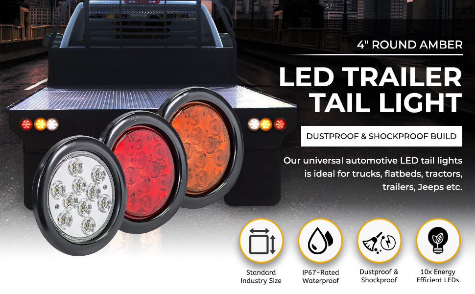 """4"""" Round Amber LED Trailer Tail Light [DOT Approved] Truck Park Turn Signal Lights"""