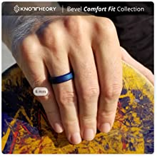 Blue bevel comfort fit silicone ring