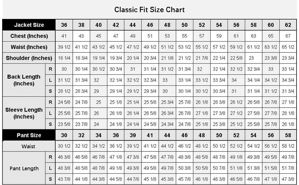 mens suits size chart