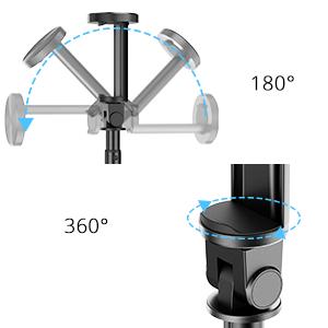senkrechte 180° Drehung der verstellbaren Halterung, zusammen mit einem 360° drehbaren