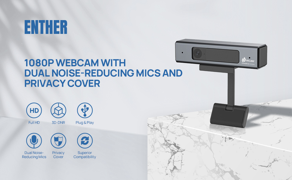 1080P Webcam with dual noise-reducing mics