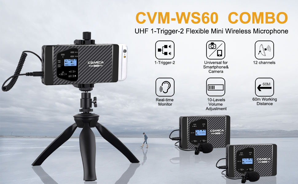 194ft Wireless Range Wireless Microphone for Smartphone iPhone Canon Nikon Sony Camera with 2 Transmitter and 1 Recevier Comica CVM-WS60 Combo Wireless Dual Lavalier Lapel Microphone System