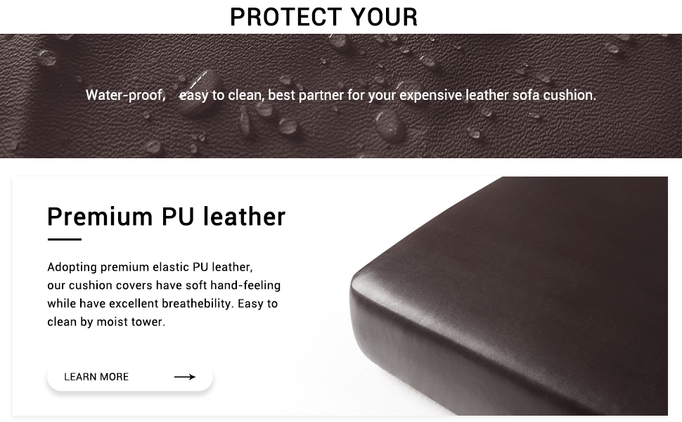 subrtex Spandex Elastic PU Leather Couch Stretch Water-Proof Patio Durable Chair Cushion Slipcovers Furniture Protector Slip Cover for Settee Sofa ...