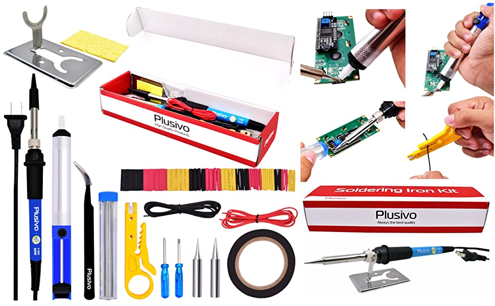 soldering iron kit 60/40 rosin core solder tweezers screwdriver wire diy desoldering heat shrink