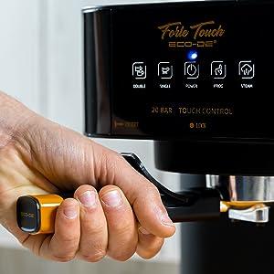 ECODE Cafetera Espresso Forte Touch, 20 Bar, Panel Táctil, Estructura INOX, Boquilla De Espuma Capuccinatore, 1.6 litros, Express, 1050 Watts ECO-420: Amazon.es: Hogar