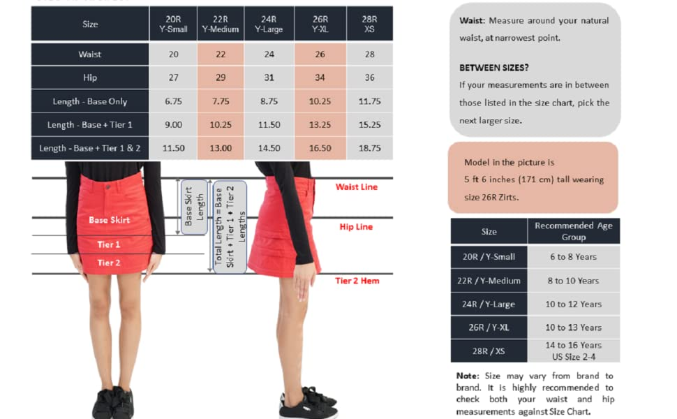 A-Line Skirt Zirt Size Chart BRAMVIK Customizable Reversible  Adjustable Length Waist with Pockets