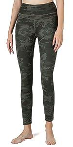 yoga pants with pockets camo green