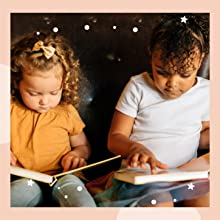 LITTLE GIRLS READING AND LISTENING A SOUND BOOK