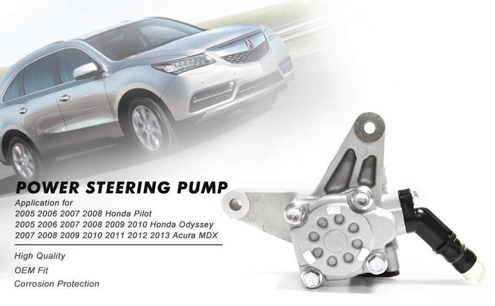 Power Steering Pump Power Assist Pump 56110-RGL-A03 for 2005-2008 Honda Pilot 2005-2010 Honda Odyssey 2007-2013 Acura MDX V6 Replace # 56110-PVJ-A01 56110-RYE-A02