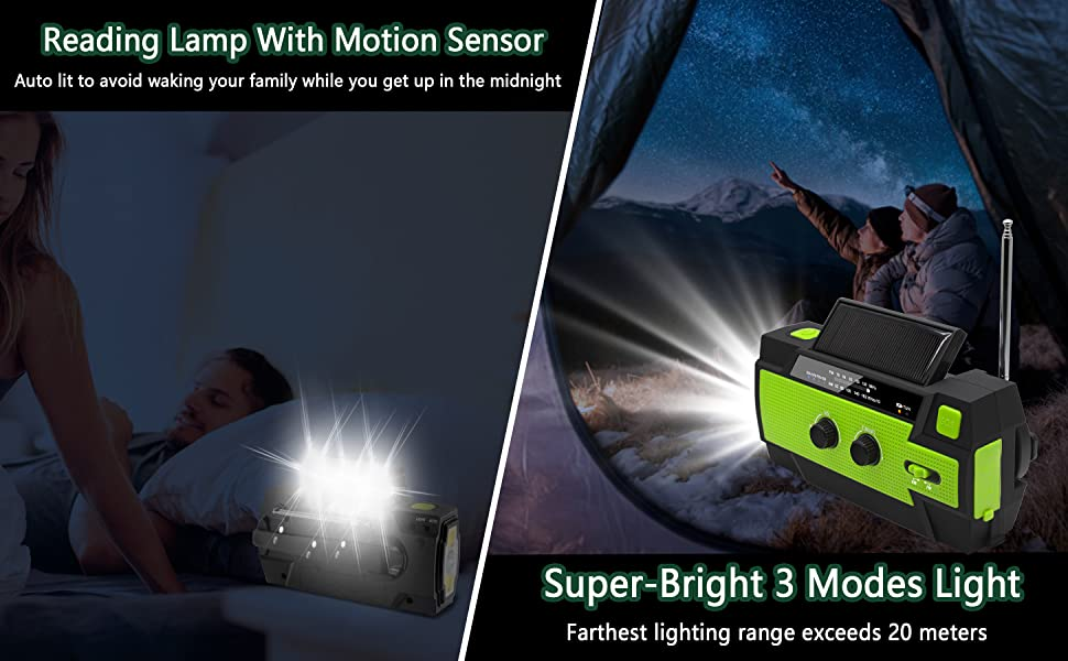 flashlight radio with motion sensor