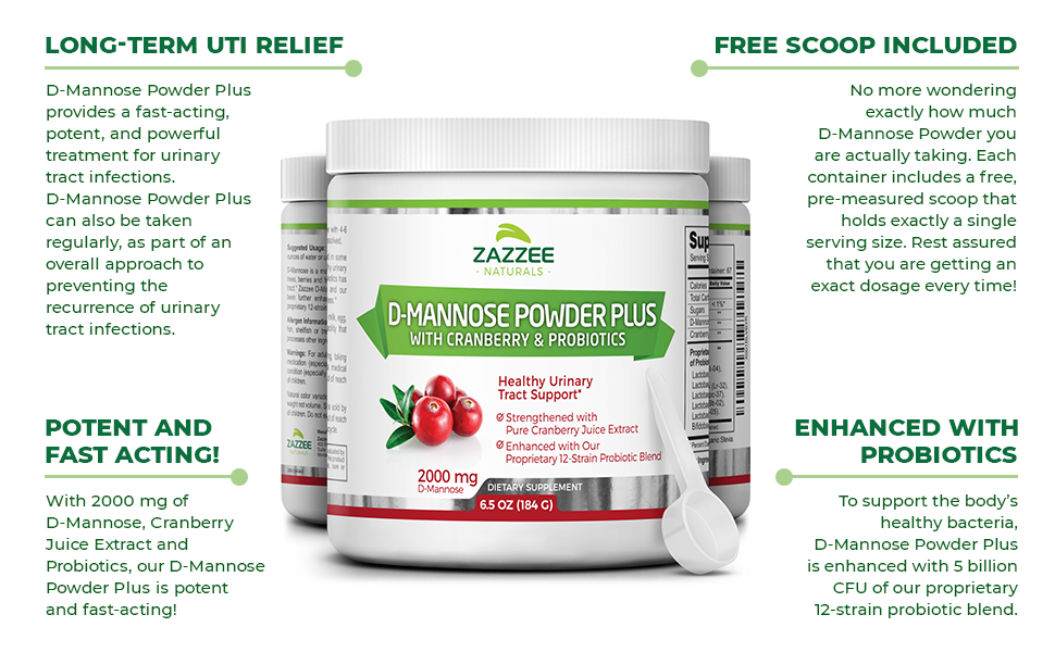 Long-Term UTI Relief, Free Scoop Included, Potent and Fast Acting, Enhanced with Probiotics.