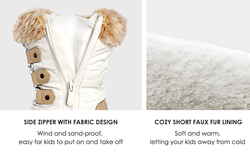 kids snow for winter fur line snow girls boys toddler warm waterproof