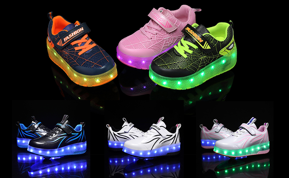 BFOEL Spider Roller Skates Light up Shoes with USB Chargable Led Sport Sneaker for Boys Girls Kids Birthday Thanksgiving Christmas Day Best Gift