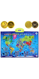 BEST LEARNING i-Poster mi mapa interactivo del mundo - juguete educativo parlante para niños y niñas de 5 a 12 años de edad (Versión en inglés): Amazon.es: Juguetes y juegos