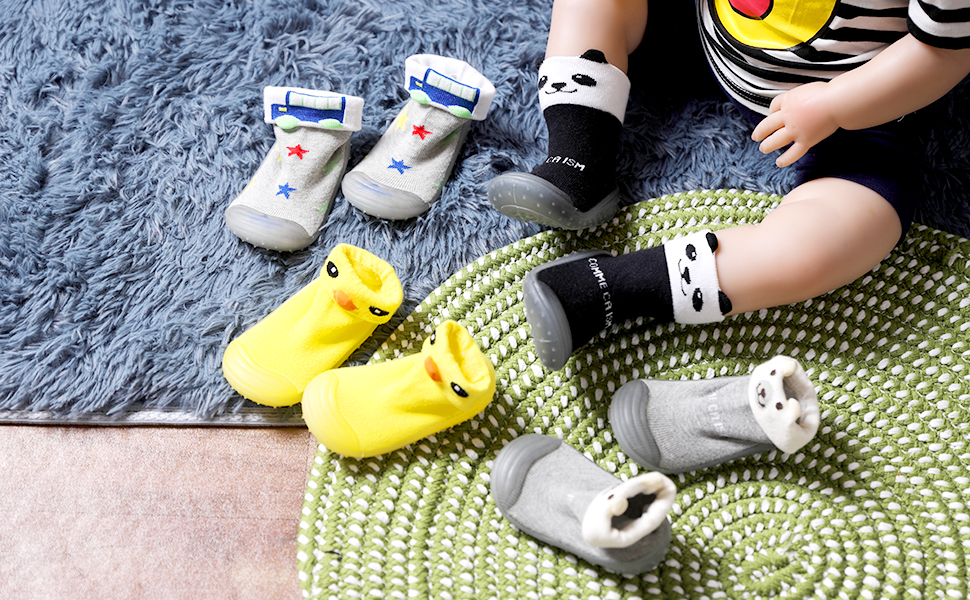 Baby Toddlers Moccasins Anti-Slip Fuzzy Slipper Floor Breathable Thick Kids Boys Girls Indoor Outdoor Winter Warm Shoes Socks