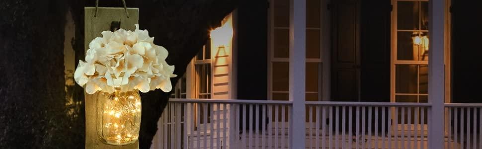 Mason Jar Sconce with LED FAIRY LIGHTS