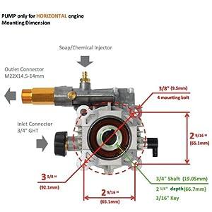 3000 PSI Pressure Washer Pump Horizontal Engine Honda GC160 GC190 3//4 NEW