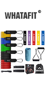Whatafit Resistance Bands Set 17pcs, Matching Towel and 5 Resistance Loop Bands
