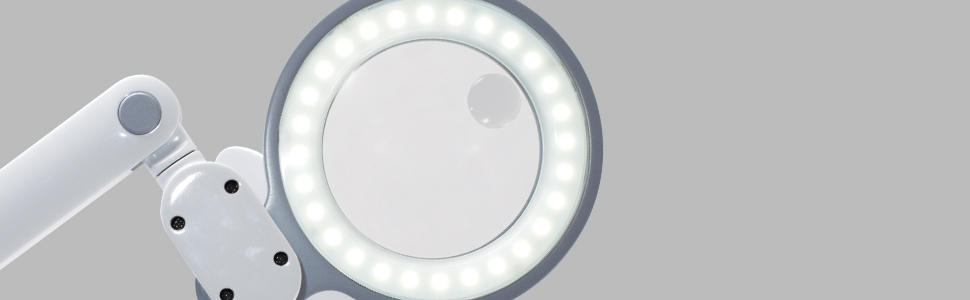 fully illuminated lighted magnifier rotating pivoting adjustable optical grade lamp light led