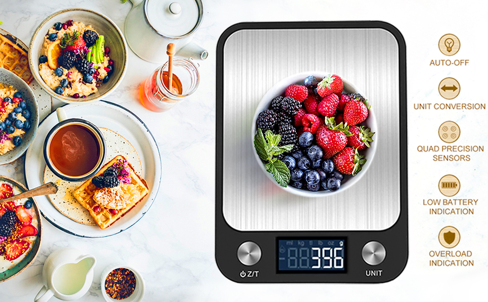 High-precision Weighing Scales with Backlit LCD Display, Tare Function for Cooking, Baking & More