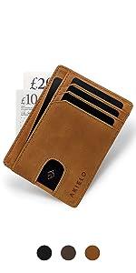 BRAVO tan mens wallet compact slim ultra thin smart wallet anti theft wallet