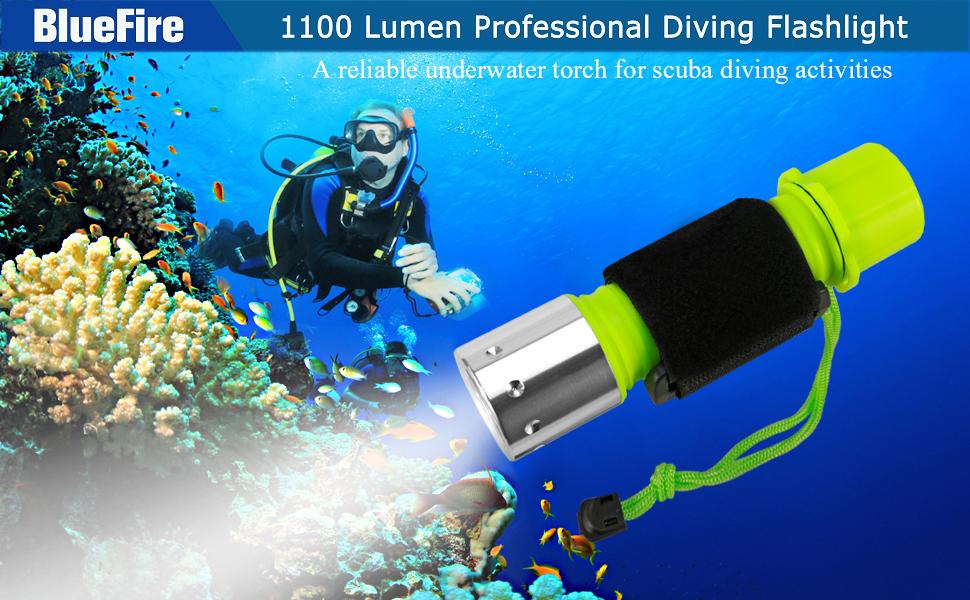 Professional Diving Flashlight, Bright LED Submarine Light Scuba Safety Lights