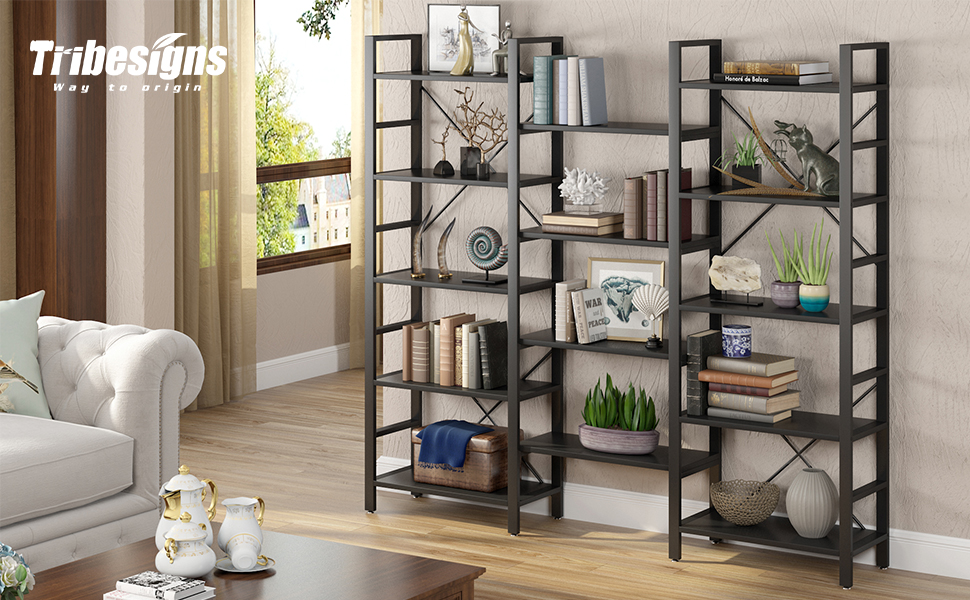 Amazon Com Tribesigns Triple 72 Inches Wide 5 Tier Bookcases Super Large Open Bookshelf