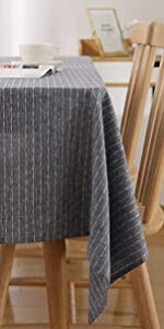 Square Tablecloth 54 x 54 Inch Striped Dark Grey Table Cover in Washable Polyester for Family