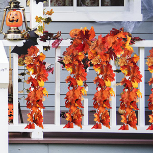 2 Pack Fall Maple Leaf Garland - 5.8ft/Piece Artificial Fall Foliage Garland Thanksgiving Decor