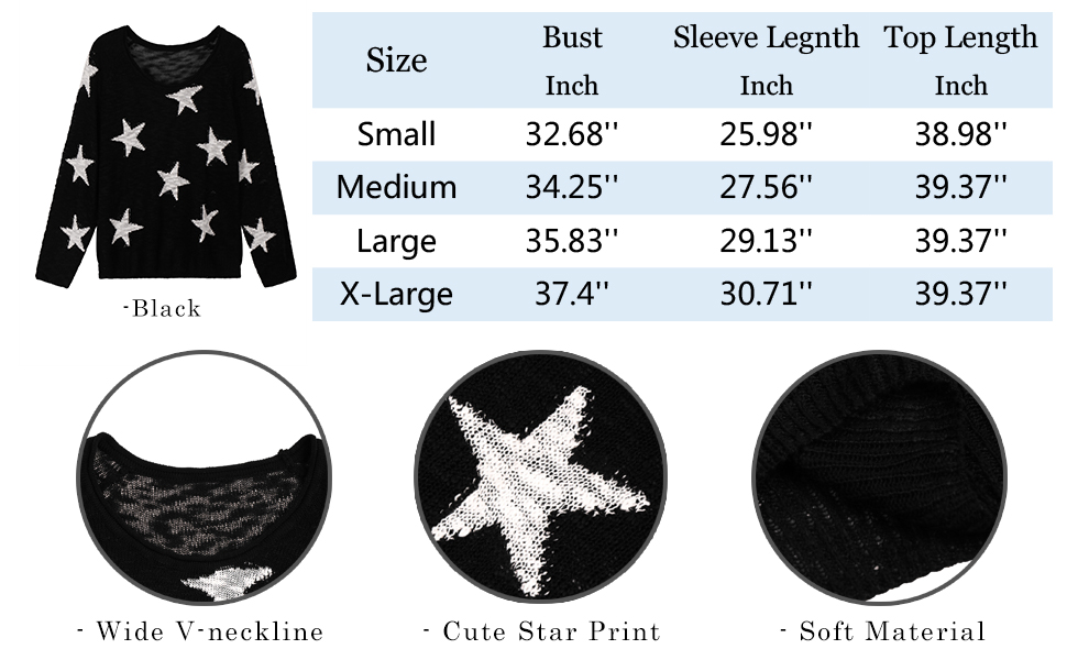 size chart and details