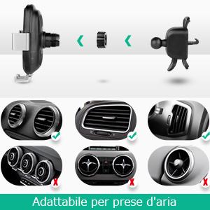 oasser Caricatore Wireless Auto Caricabatterie Ricarica Rapida, Supporto Smartphone per Prese d'Aria, 10W/7.5W Qi Ricarica Rapida per Auto