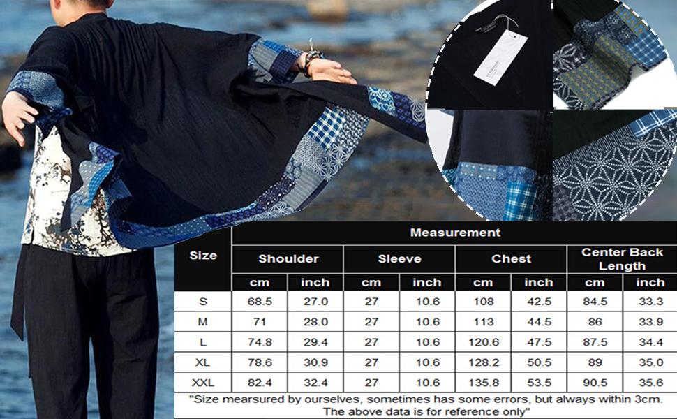 Men's Ruffle Shawl Collar Cotton Cardigan Long Kimono Jackets size chart