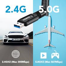 FIDECO USB WiFi, Adaptador WiFi USB 1200Mbps - 5.8G/MAX 867Mbps & 2.4G/MAX 300Mbps, Antena WiFi USB 3.0 para computadora de Escritorio/portátil, ...