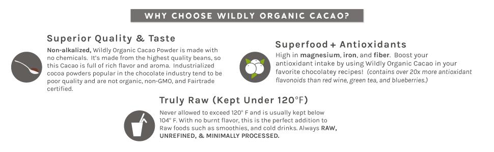Superior taste superfood antioxidants raw organic cacao powder non-alkalized