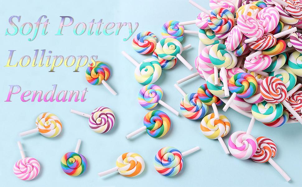 Colorful Lollipops Pendant Polymer