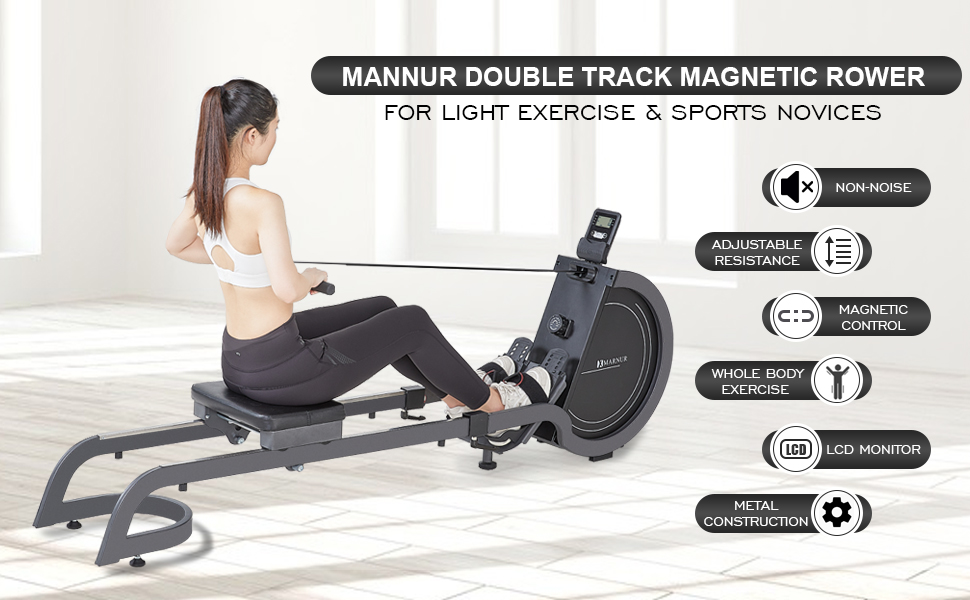 MARNUR magnetic rowing machine double track metal construction LCD monitor IPad holder